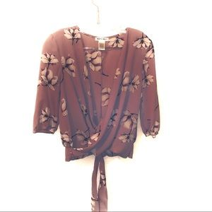 Miley and Molly Faux Wrap Plunge Neck Blouse